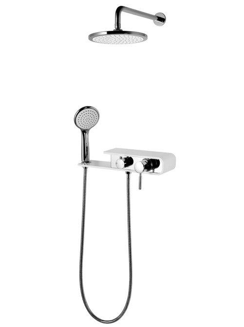 Shower set Corsan CMN001 chrome / white